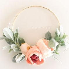 Peach Peony and Lambs Ear Wreath // 10 Wreath // Nursery Decor // Boho Nursery // Farmhouse Decor // Lambs Ear Wreath // Gold Hoop Wreath Boho Nursery, Nursery Decor, Girl Nursery, Nursery Ideas, Peach Peonies, Indoor Wreath, Focal Wall, Lambs Ear, Décor Boho