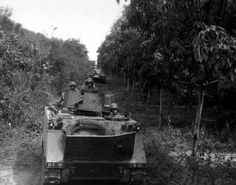 Vietnam war | File:M113 Jungle Convoy Vietnam War.jpg - Wikimedia Commons I think these soldiers in the tank are on pratrol looking for Vietnamese and trying not to get killed by the booby traps. I wonder if they will find anything?