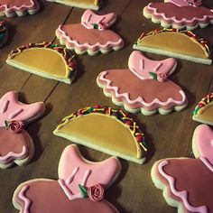 Tacos and tutus baby shower theme. Taco and tutu decorated sugar cookies.