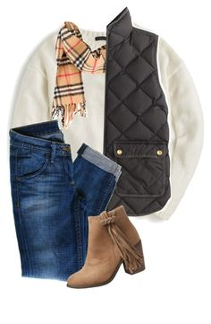 """""""Don't run from your fears"""" by perfecly-equestrian ❤ liked on Polyvore featuring J.Crew, Burberry, Hudson Jeans and maurices"""