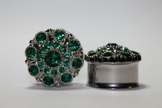 Hey, I found this really awesome Etsy listing at https://www.etsy.com/listing/179573377/emerald-vintage-styled-rhinestone-plugs