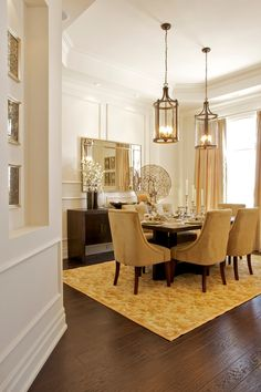 Sunshine:: Traditional Dining Design Ideas, Pictures, Remodel and Decor // nice color scheme with existing fireplace and woodwork. Dining Room Lantern, Elegant Dining Room, Gold Dining Room, Traditional Dining, Dining Room Drapes, Dining, Dining Room Remodel, Dining Design, Small Dining