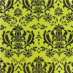 Bag-of-Chips Lime Green & Black Damask Flocked Gift Wrap | Shop Hobby Lobby - Wrapping paper