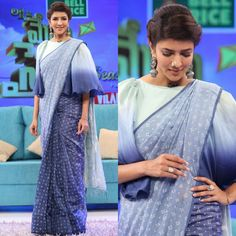A different look!! Lakshmi Manchu for Memu Saitham in medium by riddhi jain sari with a customised ruffle sleeve blouse...silver jew by manikaa silver line..styled by image craft by shweta malpani 08 April 2018