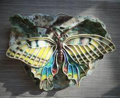 """Купить Панно """"Бабочка"""" - бабочка, ручная работа, настенное панно, интерьерное панно, керамическая бабочка"""