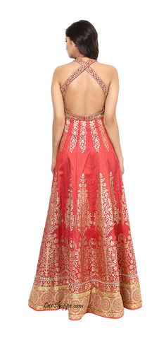 Cherry Red Anarkali with Kundan & Applique Work
