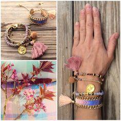 NEW: limited edition OOAK beautiful beadedloom arrow-rainbow bracelet with big tassel, framed with gold plated heavy chain