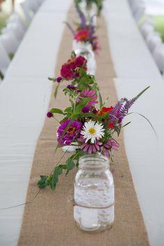 hessian table runner and mason jar flowers