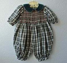Vintage Baby Clothes  Red & Green Plaid Jumper  Size by NellsNiche, $18.00