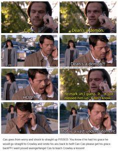 "10x02 Reichenbach [gifset] - ""Dean's a demon."" - Sam Winchester & Castiel, Supernatural"