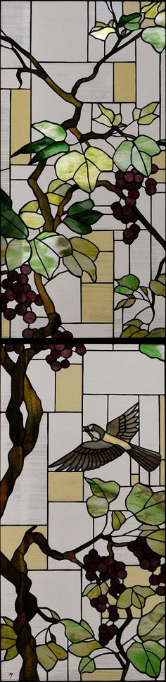 Birds and grapes in stained glass