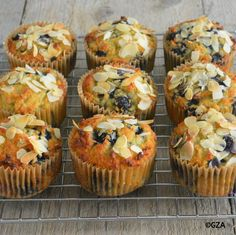 Blauwe bessen-kokosmuffins. #glutenvrij #lactosevrij #koemelkvrij #fructosearm #tarwevrij