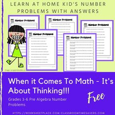 Home learning math worksheets for pre algebra, number problems with answers. Worksheets For Grade 3, Free Worksheets, Numbers For Kids, Math Numbers, Home Learning, Algebra, Things To Come