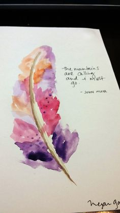 Original Watercolor Feather The Mountains by WanderlustArtStuff