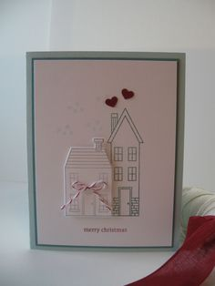 Stampin Up! Soft Sky and Lost Lagoon cardstock, Holiday Home stamps & Homemade Holiday dies