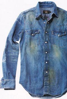 denim shirt in your closet? Denim Shirt Men, Denim Ideas, Ralph Lauren, Western Shirts, Vintage Denim, Denim Fashion, Jeans Style, Blue Jeans, Cool Style