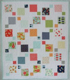 Disappearing 9 patch made with a charm pack, sashing between blocks creates a floating effect, yields finished squares. Scrappy Quilts, Easy Quilts, Small Quilts, Mini Quilts, Crib Quilts, Charm Pack Quilt Patterns, Charm Pack Quilts, Charm Quilt, Patchwork Patterns