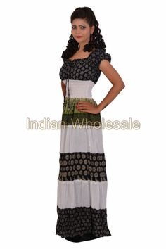 Women Cap Sleeves Cotton Printed Black & White Long Tunic Mexi Dress IW4008 #Handmade #Maxi