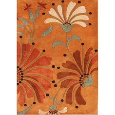 This lovely abstract handmade wool rug features complementing shades of orange, green, and burgundy in a floral pattern that will look wonderful in most homes. New Zealand wool provides durability and a thick pile your feet can sink into.