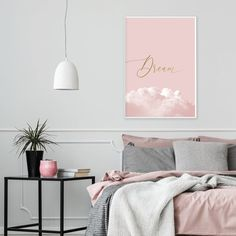 Blush pink and gold bedroom wall decor Printable Dream poster Dusky Pink Bedroom, Pink Green Bedrooms, Pink Bedroom Walls, Gold Bedroom Decor, Pink Bedroom For Girls, Guest Room Decor, Bedroom Wall Colors, Pink Bedding, Pink Room