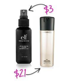 e.l.f. makeup setting spray $3 versus MAC's $21 - Splurge vs Steal: ELF Makeup Dupes You Can't Resist!