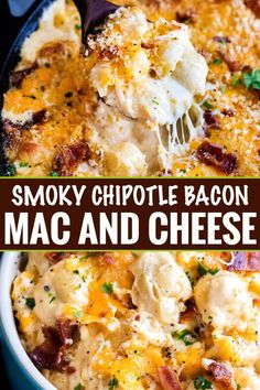 Smoky Chipotle Bacon Mac and Cheese - The Chunky Chef - Creamy mac and cheese, made with double the cheeses, chipotle peppers, crispy bacon, and a buttery panko topping! Perfect for a weeknight comfort food meal! Thanksgiving Mac And Cheese, Best Thanksgiving Recipes, Thanksgiving Side Dishes, Fall Recipes, Healthy Recipes, Pumpkin Recipes, Thanksgiving Holiday, Italian Thanksgiving, Thanksgiving Games