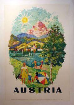 The Poster Lady - Travel Posters - Vintage Nation Posters Vintage Ski Posters, Retro Graphic Design, Retro Illustration, Vintage Illustrations, Places To Travel, Travel Stuff, Traveling, Austria Travel, Vintage Kids