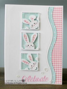 Peeking Bunnies by Karen Oliver    This card features the Peeking Bunny Square Die   set of three adorable little bunnies. They separate...