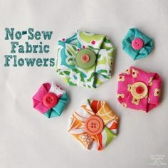 Tutorial to make these simple No-Sew Fabric Flower embellishments.