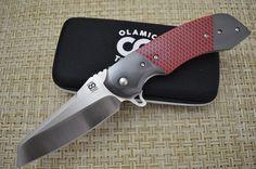"Olamic Cutlery Custom ""Wayfarer Sheepscliffe"" Liner-Lock Flipper, Double Zirconium Bolsters, Red C-Tek"