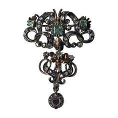 18th Century Georgian Emerald Diamond Brooch, Portugal or Spain C.1780 by