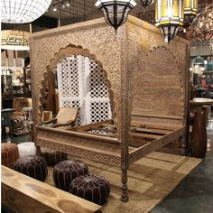 Shop this bed at Mix Furniture! Carved Wood Relief Canopy Bed - Shop this bed at Mix Furniture! Rustic Canopy Beds, Wood Canopy Bed, Bench Furniture, Furniture Styles, Furniture Design, Dreams Beds, Indian Home Decor, Interior Decorating, Interior Design
