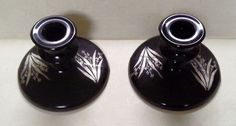 L. E. Smith Ebony Black Glass Candlesticks With Silver Leaves And Flowers