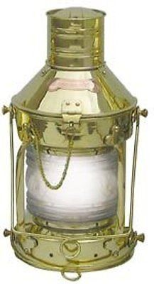 G4048: XL Anchor Lamp, Electric lamp, Ship lantern Polished brass 15 3/8in