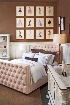 love the tufted bed and fashion drawings