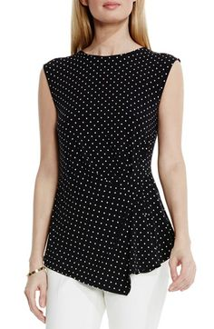 Vince Camuto 'Island Dot' Print Faux Wrap Top available at #Nordstrom