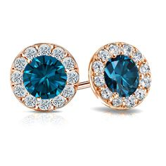 Be unconventional and style it your way, just like this Halo set Blue Diamond Stud Earrings in 14k rose gold. https://www.diamondstuds.com/color-diamond-studs-cds-9.html?shape=Round-Blue