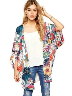 Dresswel Women Chiffon Boho Floral Print Kimono Cover Up Beach Wear