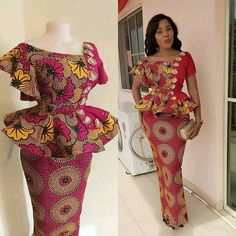 the most fascinating new fashion trends that are making waves in this year 2020 is how Ankara fabrics are been combined in in a classy manner. One of those trends is Ankara tops and jeans,Ankara Gowns,Ankara Skirt and Blouses,Plain and patterns. Ankara Skirt And Blouse, Ankara Dress Styles, African Lace Dresses, Latest Ankara Styles, African Dresses For Women, African Attire, Blouse Styles, African Women, Ankara Styles For Women