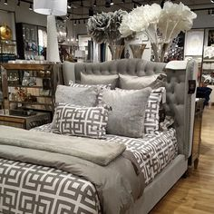 Who wishes they were shopping instead of working? Here's a photo of our Jameson Bed, Ming + Marquesa Bedding, and Chinchilla Throw + Pillow