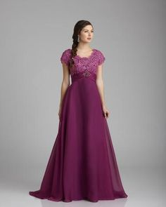 Irridescent Chiffon modest formal dress with beaded lace bodice and empire waist with band and beaded broach. A-line skirt and zipper back. Great for prom and informal weddings or other events. Comes in white, ivory and many colors  Color Shown: Purple Rose