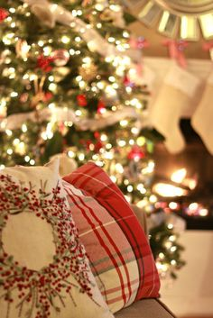 Christmas Home Tour   2014.  Pillows from HomeGoods.  Shop right after Halloween for best selection.