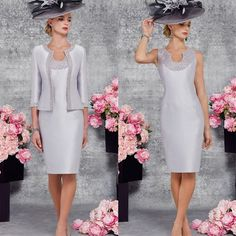 Newdeve Scoop Silver Grey Knee Length Mother Dresses for Wedding with Jacket (2)