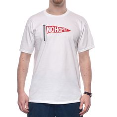 """""""No Hope"""" Uniform White Mens T-Shirt  Voice your discontent in our """"No Hope"""" Mens T-Shirt. The statement graphic is discharge-printed for quality and comfort, and our signature flagman waves his support from a woven label on the reverse. Available in Uniform White, it is a great addition to any streetwear outift!"""