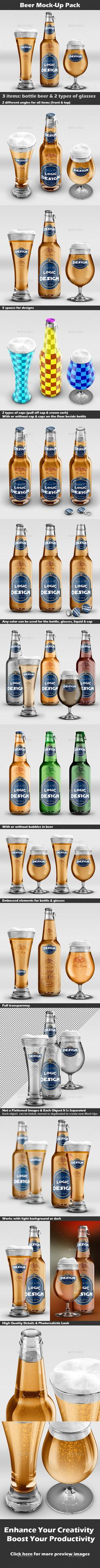 Description This is a professional Beer Mock-Up Pack. This set of mock-ups allows you to make awesome presentations of your works.