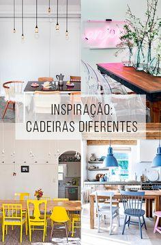 Cadeiras descombinando entre si e/ou com a mesa? Tá permitido! \o/ // palavras-chave: decoração, inspiração, cadeiras diferentes, cadeiras coloridas, mesas diferentes, mesas coloridas, mesa de madeira, mesas e cadeiras, ideia diferente para a sala de jantar.