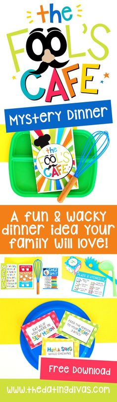 Fool's Cafe: A Fun Family Dinner Idea For April Fool's Day recipes ideas recipes ideas families recipes ideas healthy recipes ideas sides recipes ideas simple Mystery Dinner Party, Dating Divas, Funny April Fools Pranks, Dinner Games, Fhe Lessons, Family Fun Night, Night Couple, April Fools Day, Family Games