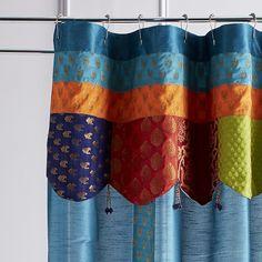 Sari Patch Teal Shower Curtain