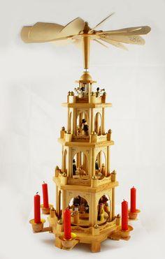 Vintage  German Christmas Nativity Pyramid Carousel 4 - Tier