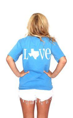 : Riffraff | Love Texas Heart Pocketed Tee - caribbean royal blue